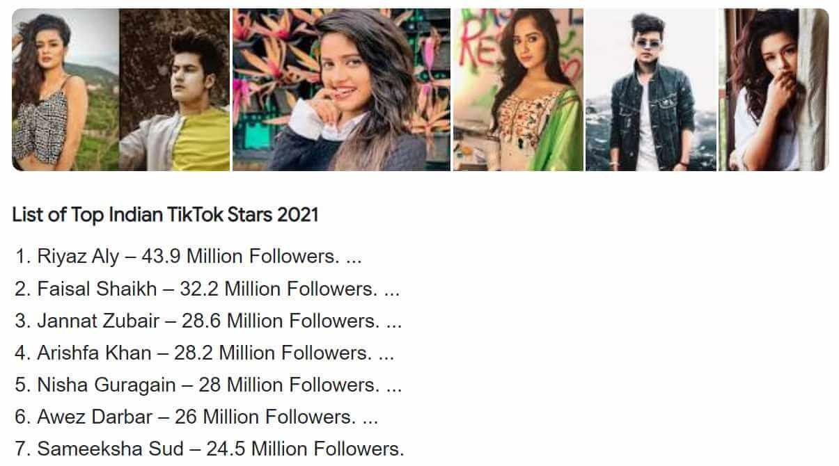 Indian Top 5 TikTok Star