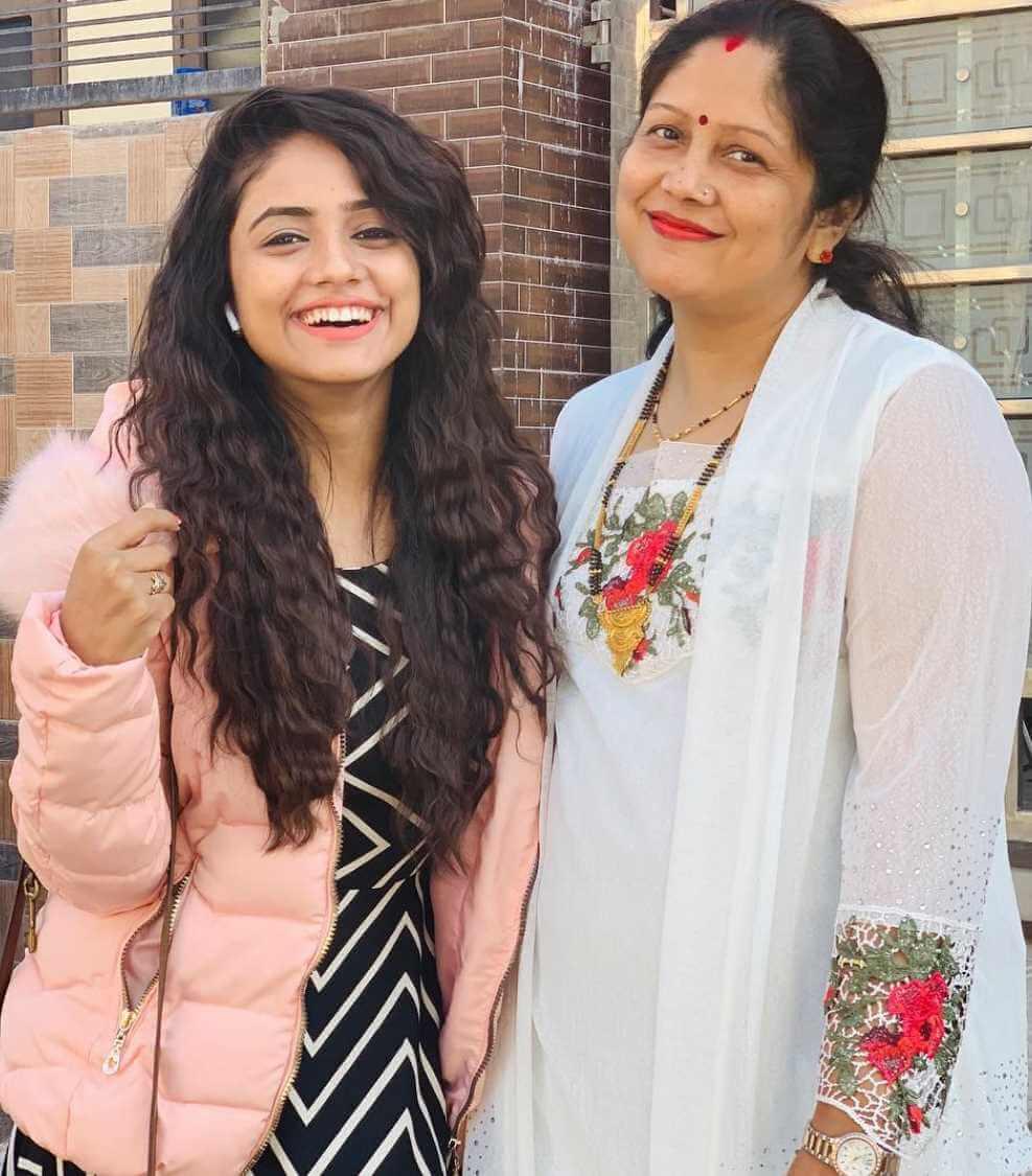 Nisha Guragain with her mother Photo